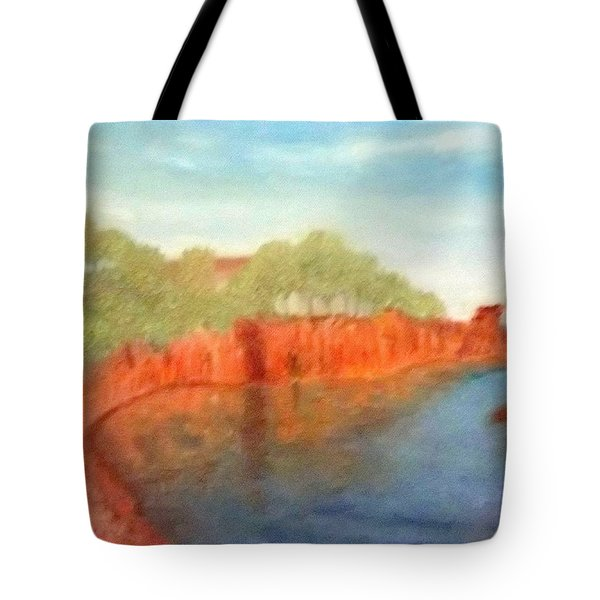 A Small Inlet Bay With Red Orange Rocks Tote Bag
