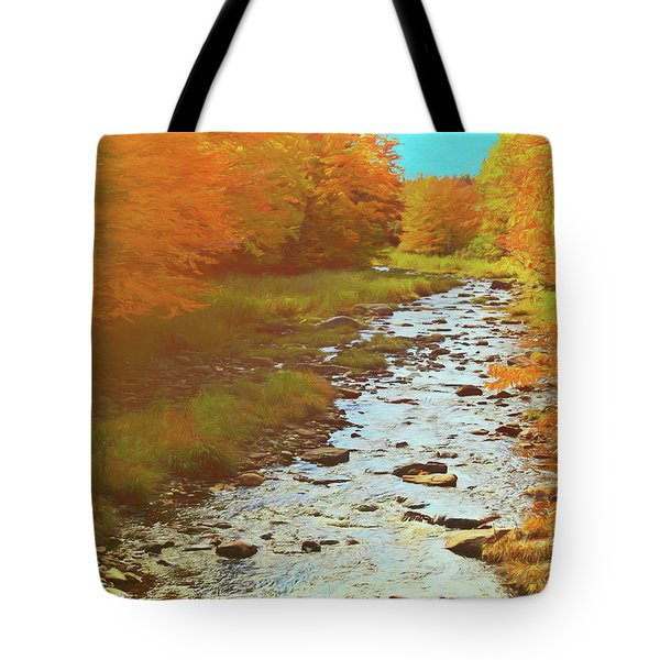 A Small Stream Bright Fall Color. Tote Bag