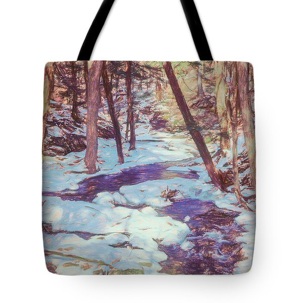 A Small Stream Meandering Through Winter Landscape. Tote Bag