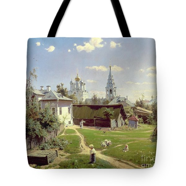 A Small Yard In Moscow Tote Bag by Vasilij Dmitrievich Polenov