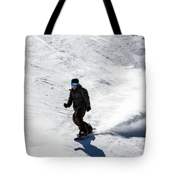 A Snowboarder Descends Aspen Mountain Tote Bag