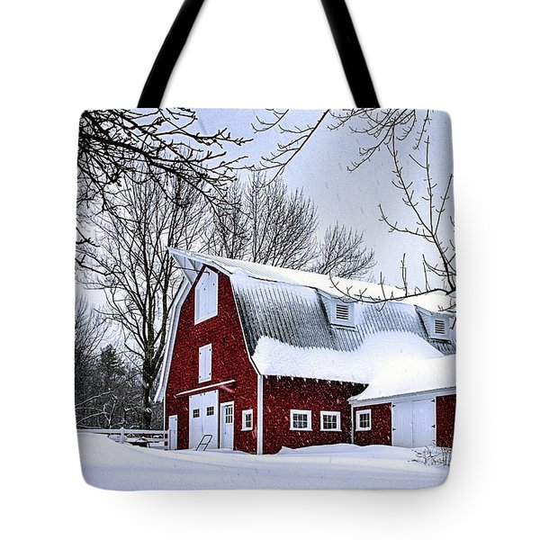 A Snowy Day At Grey Ledge Farm Tote Bag