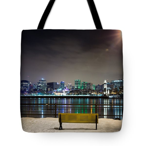 A Snowy Night In Montreal  Tote Bag
