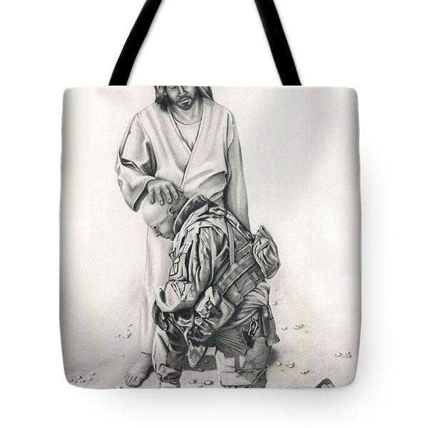 A Soldier's Prayer Tote Bag by Linda Bissett