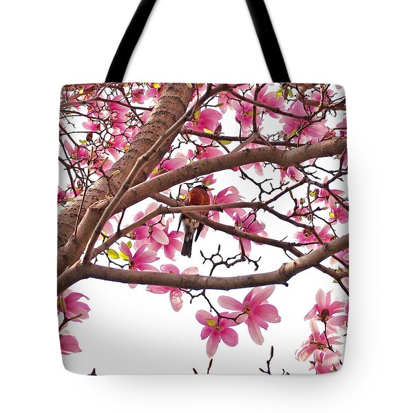 A Songbird In The Magnolia Tree Tote Bag by Rona Black