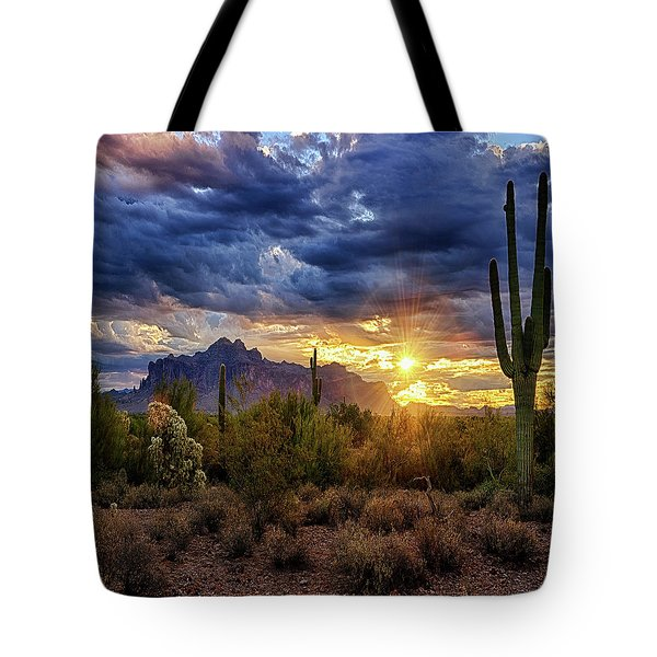 Tote Bag featuring the photograph A Sonoran Desert Sunrise - Square by Saija Lehtonen