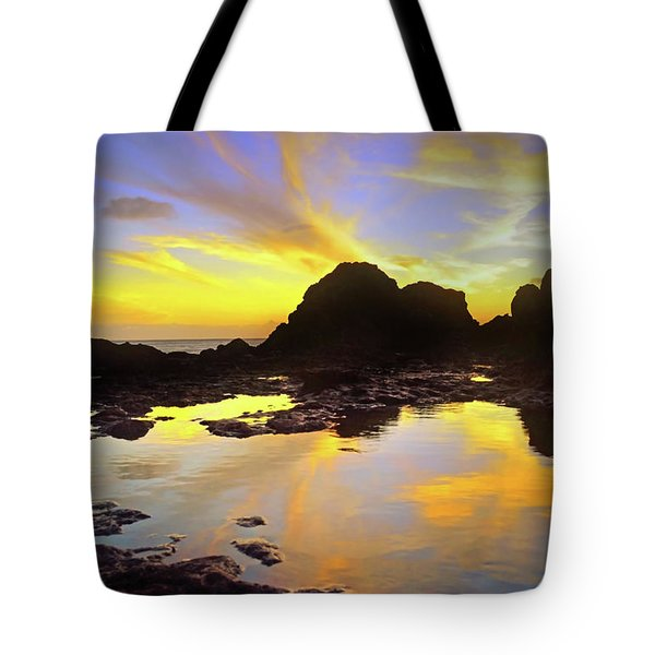 Tote Bag featuring the photograph A Splatter Paint Sunset by Tara Turner