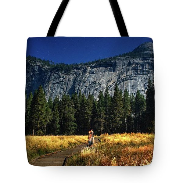 A Starry Full Moon Night Tote Bag