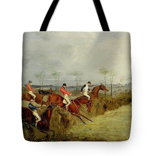 A Steeplechase - Taking A Hedge And Ditch  Tote Bag by Henry Thomas Alken