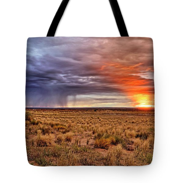 A Stormy New Mexico Sunset - Storm - Landscape Tote Bag by Jason Politte