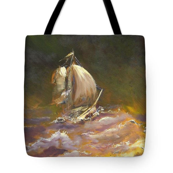 A Stormy Night At Sea Tote Bag by Dan Whittemore