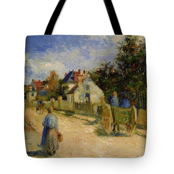 A Street In Pontoise 1879 Tote Bag