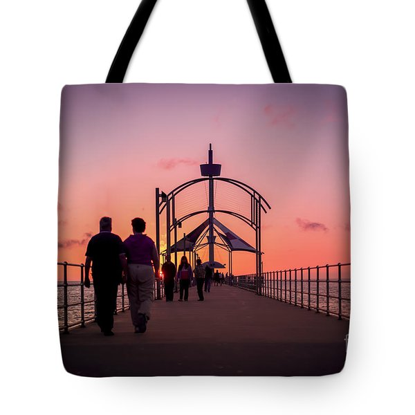 A Stroll Along Sunset Pier Tote Bag