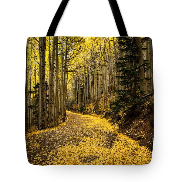 A Stroll Among The Golden Aspens  Tote Bag