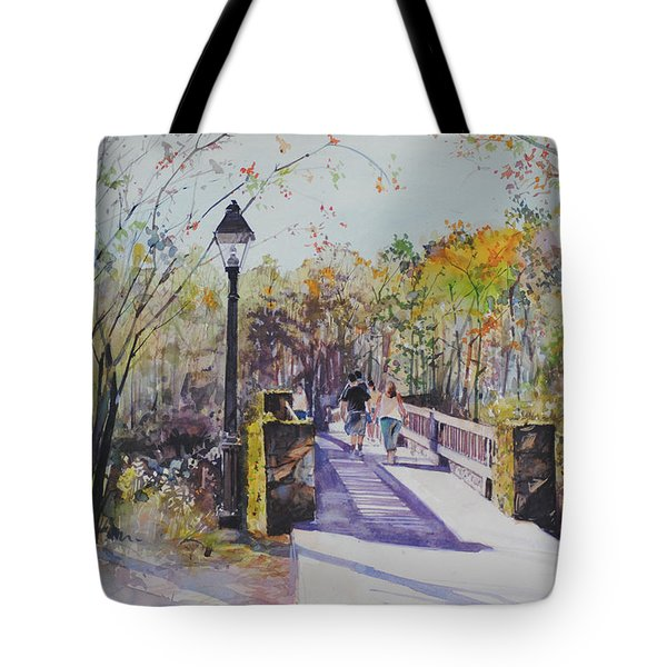 A Stroll On The Bridge Tote Bag