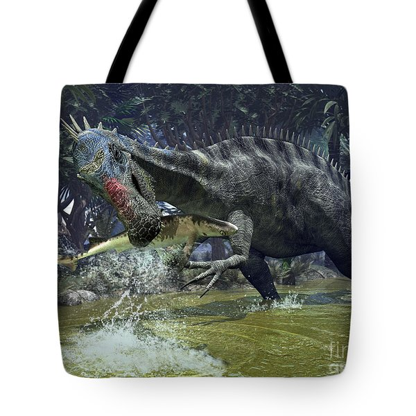A Suchomimus Snags A Shark From A Lush Tote Bag