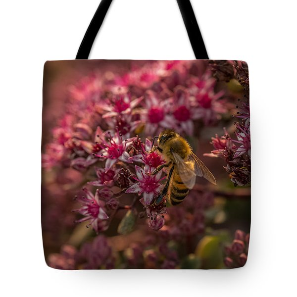 Tote Bag featuring the photograph A Summer Bee by Yeates Photography