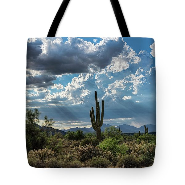 Tote Bag featuring the photograph A Summer Day In The Sonoran  by Saija Lehtonen