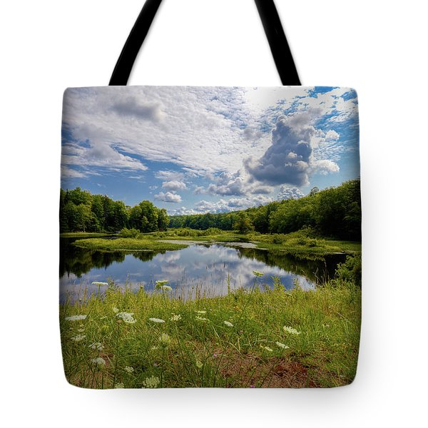 Tote Bag featuring the photograph A Summer Morning At The Bridge by David Patterson