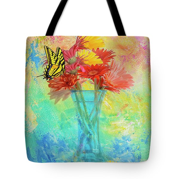 Tote Bag featuring the digital art A Summer Time Bouquet by Diane Schuster