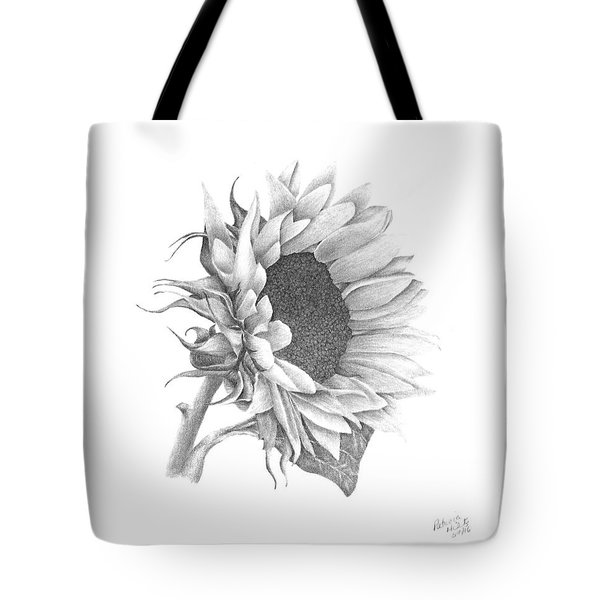 Tote Bag featuring the drawing A Sunflowers Beauty by Patricia Hiltz
