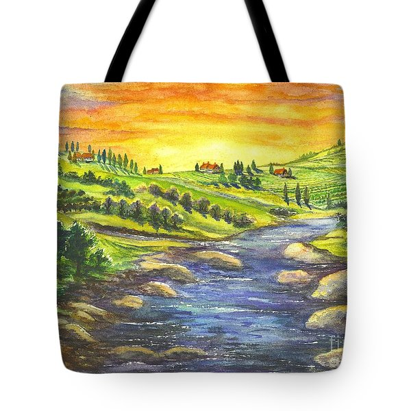 A Sunset In Wine Country Tote Bag by Carol Wisniewski