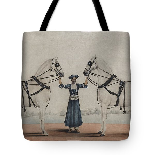 A Syce, Groom, Holding Two Carriage Horses Tote Bag