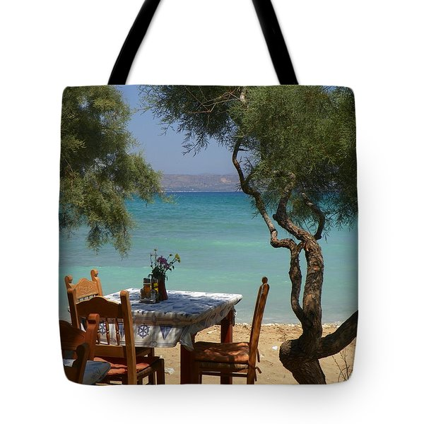 A Table Underneath The Welcoming Shade Tote Bag