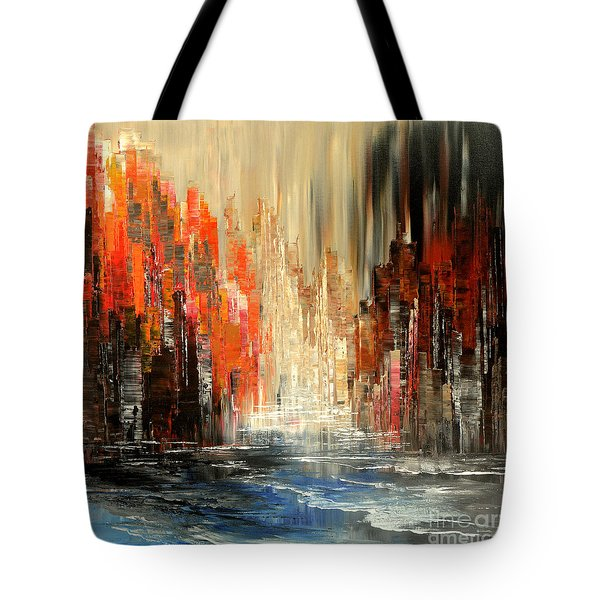 Tote Bag featuring the painting A Tale Of Two Cities by Tatiana Iliina