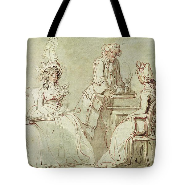 A Tea Party Tote Bag by Thomas Rowlandson