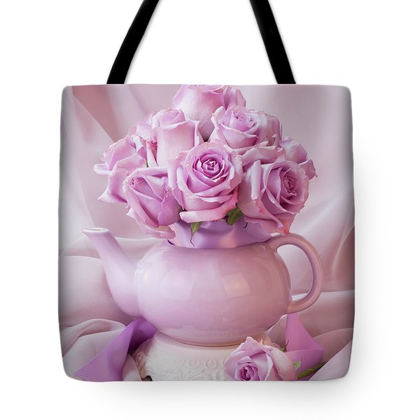 A Tea Pot Of Lavender Pink Roses  Tote Bag by Sandra Foster