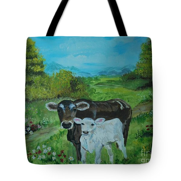 Tote Bag featuring the painting A Tender Love by Leslie Allen