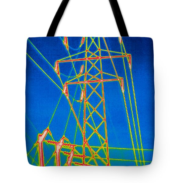 A Thermogram Of High Voltage Power Lines Tote Bag