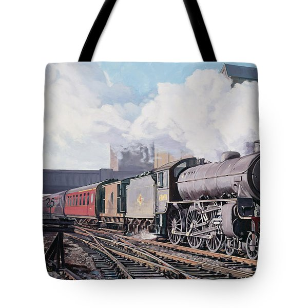 A 'thompson' B1 Class Moving Empty Stock On A Cold February Morning Tote Bag by David Nolan