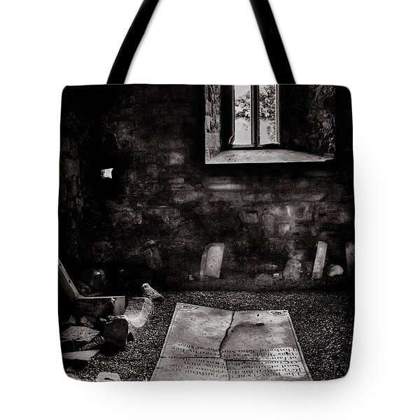 Tote Bag featuring the photograph A Tombstone In Sligo Abbey Bw by RicardMN Photography
