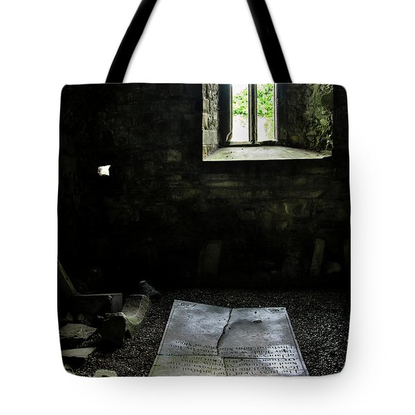Tote Bag featuring the photograph A Tombstone In Sligo Abbey by RicardMN Photography
