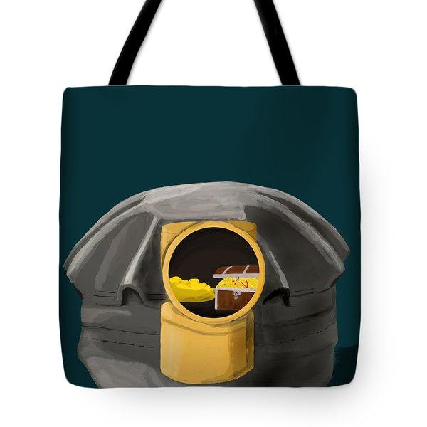 A Treasure Inside The Miners Helmet Tote Bag by Keshava Shukla