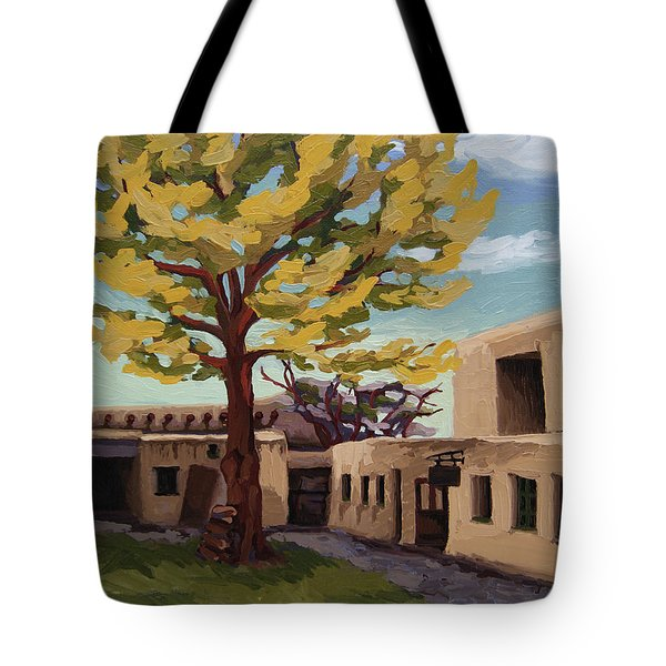 Tote Bag featuring the painting A Tree Grows In The Courtyard, Palace Of The Governors, Santa Fe, Nm by Erin Fickert-Rowland