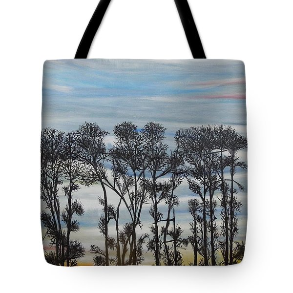 Tote Bag featuring the painting A Treeline Silhouette by Marilyn  McNish