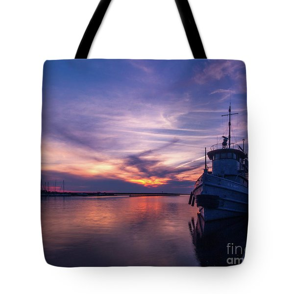 A Tugboat Sunset Tote Bag