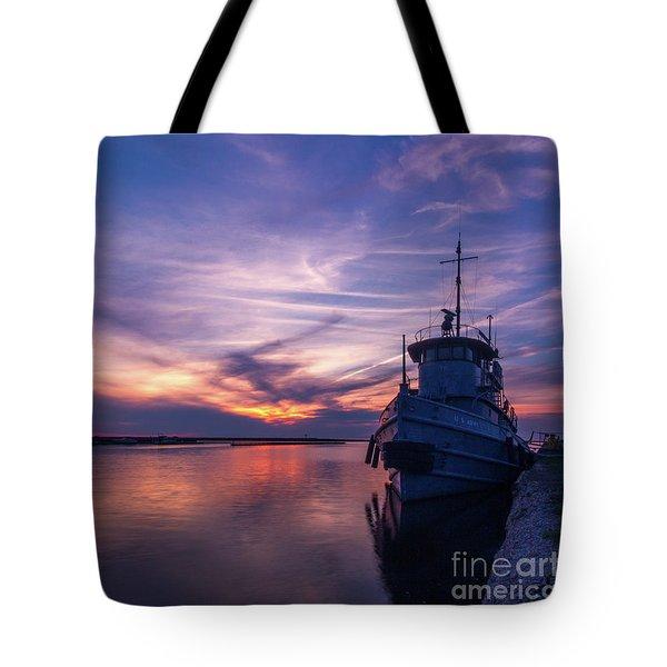 A Tugboat Sunset Tote Bag