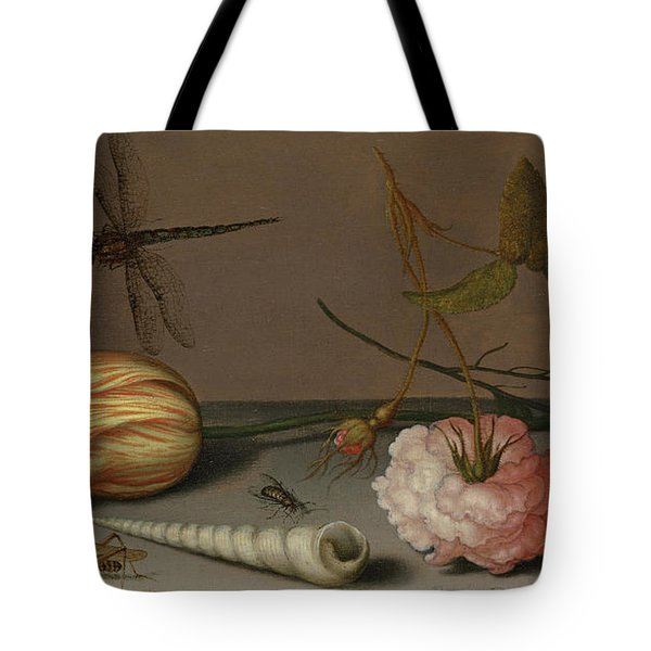 A Tulip, A Carnation, Spray Of Forget-me-nots, With A Shell, A Lizard And A Grasshopper, On A Ledge Tote Bag