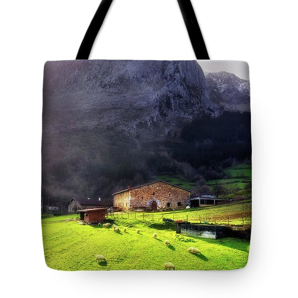 A Typical Basque Country Farmhouse With Sheep Tote Bag