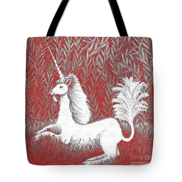A Unicorn In Moonlight Tapestry Tote Bag