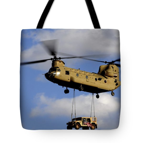 A U.s. Army Ch-47 Chinook Helicopter Tote Bag by Stocktrek Images