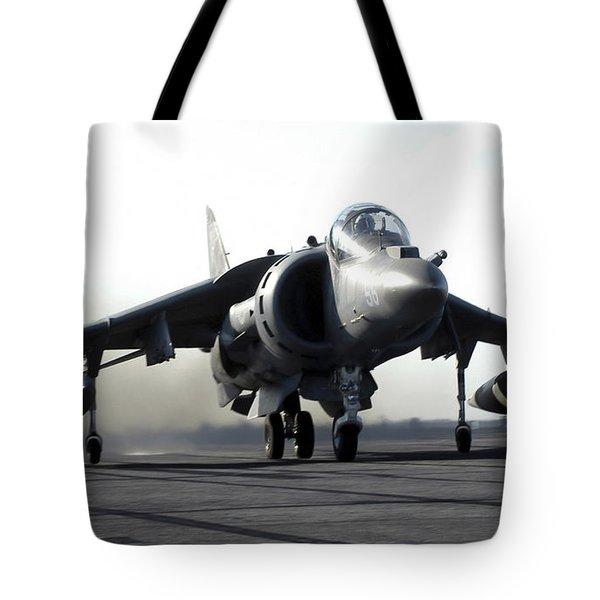 A U.s. Marine Corps Av-8b Harrier Tote Bag by Stocktrek Images