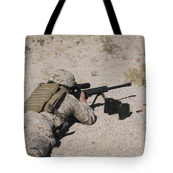 A U.s. Marine Zeros His M107 Sniper Tote Bag by Stocktrek Images