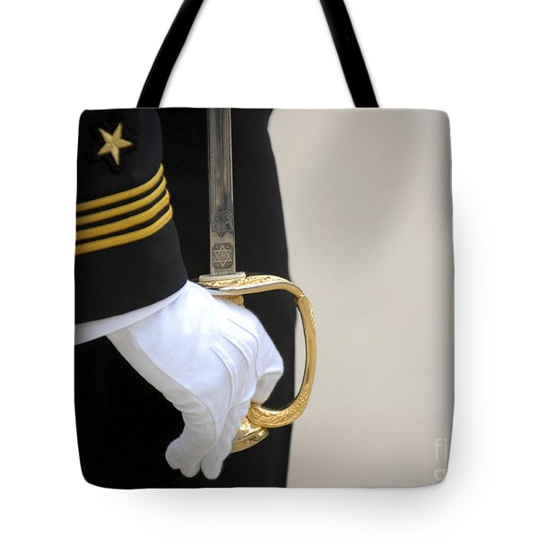 A U.s. Naval Academy Midshipman Stands Tote Bag