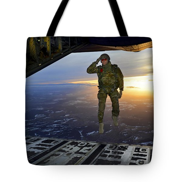A U.s. Soldier Salutes His Fellow Tote Bag