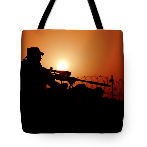 A U.s. Special Forces Soldier Armed Tote Bag by Stocktrek Images